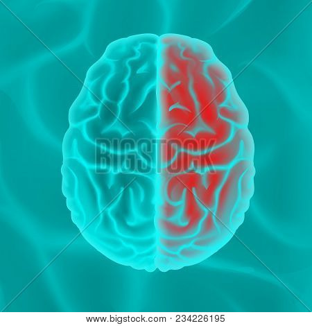 Vector Glowing Turquoise Human Brain Top View Close Up Isolated On Background