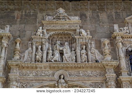 Toledo, Spain - May 25, 2017: It Is A Fragment Of The Medieval Bas-reliefs On The Gate Of The Former