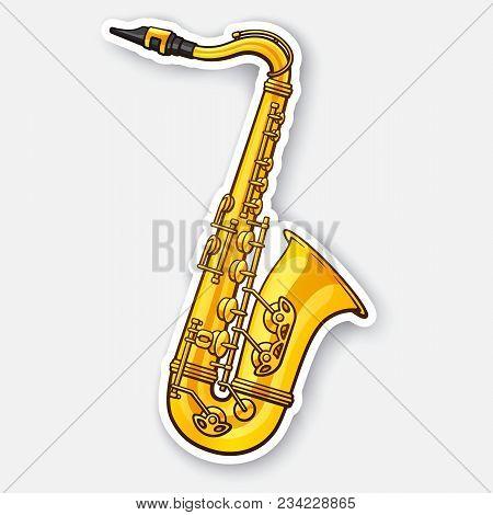 Vector Illustration. Classical Music Wind Instrument Saxophone. Blues, Funk Or Jazz Musical Equipmen