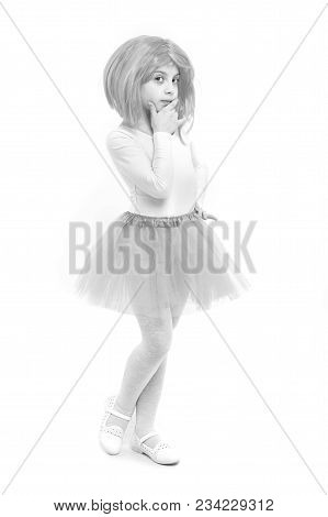 Ballet And Art. Beauty And Fashion. Childhood And Happiness. Child In Wig Isolated On White Backgrou