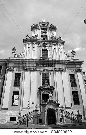 Krakow, Poland - June 04, 2016: Church Of Transfiguration On Sunny Blue Sky. Religion, Religious Des