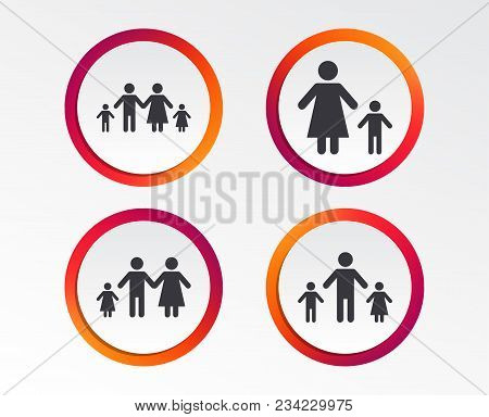 Family With Two Children Icon. Parents And Kids Symbols. One-parent Family Signs. Mother And Father