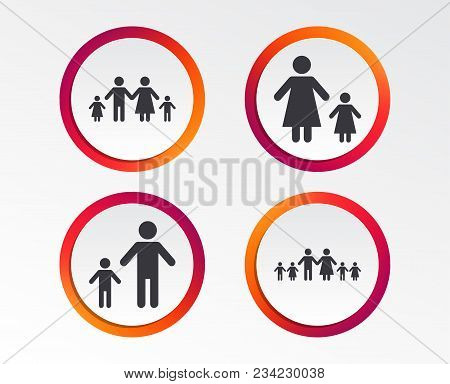 Large Family With Children Icon. Parents And Kids Symbols. One-parent Family Signs. Mother And Fathe