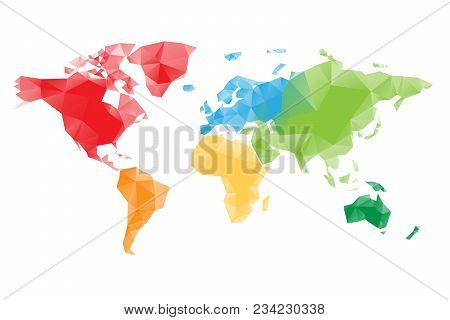 Low Poly Map Of World Divided Into Six Continents By Color. Polygonal Vector Design With Dropped Sha