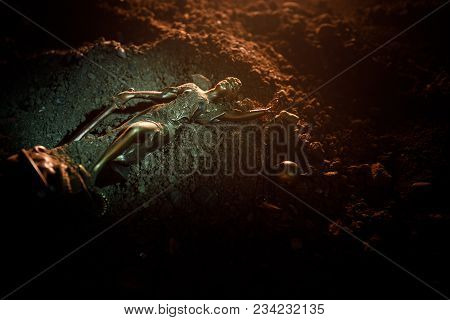 Fallen Lady Justice Statue With Scale In The Sand. Statue Of Justice Lost In Sand. No Justice Concep