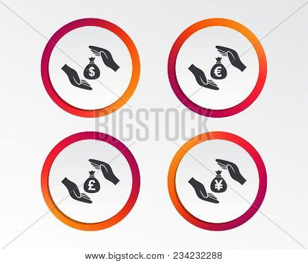 Hands Insurance Icons. Money Bag Savings Insurance Symbols. Hands Protect Cash. Currency In Dollars,