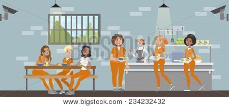 Female Prison Room With Cafe. Prisoners With Police Officers.