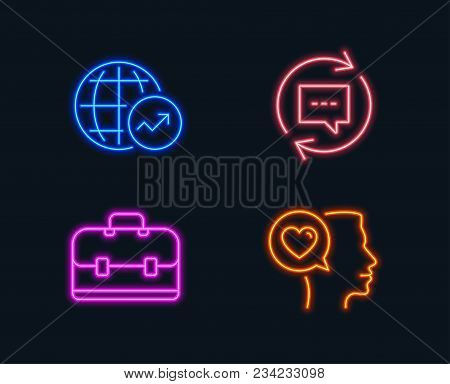 Neon Lights. Set Of Portfolio, World Statistics And Update Comments Icons. Romantic Talk Sign. Busin