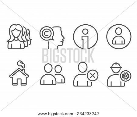 Set Of Delete User, Users And Women Headhunting Icons. Writer, Avatar And Engineer Signs. Remove Pro