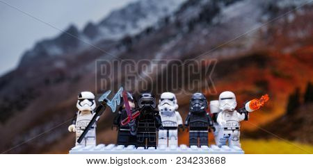 RUSSIAN, April 01, 2018. Lego star wars clone troopers army. Lego minifigures are manufactured by The Lego Group. Kylo Ren and the Stormtroopers Team