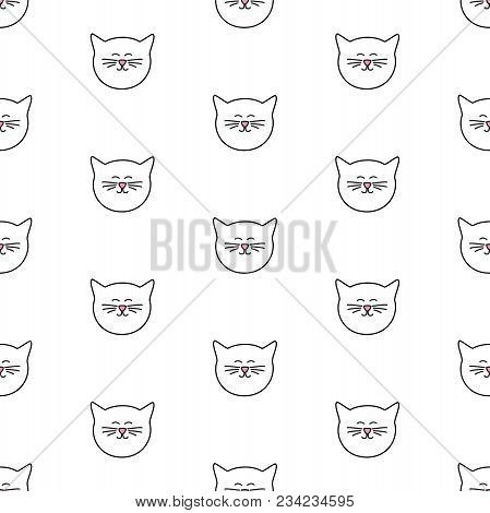 Tile Vector Pattern With Cats On White Background