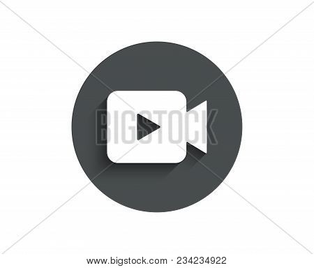 Video Camera Simple Icon. Movie Or Cinema Sign. Multimedia Symbol. Circle Flat Button With Shadow. V