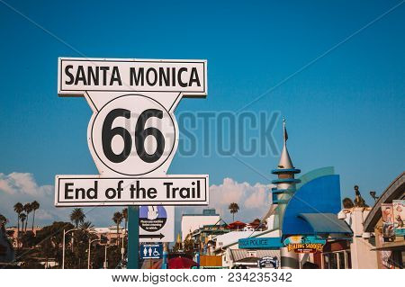 Santa Monica 66 Route End Of Trail Sign. Los Angeles, Usa. April 10, 2017.