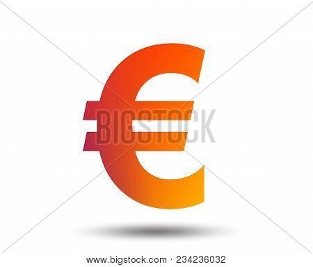 Euro Sign Icon. Eur Currency Symbol. Money Label. Blurred Gradient Design Element. Vivid Graphic Fla
