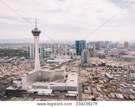 Aerial View Of The Stratosphere Hotel On July 29, 2013 In Las Vegas, Nevada. Beautiful Aerial Footag