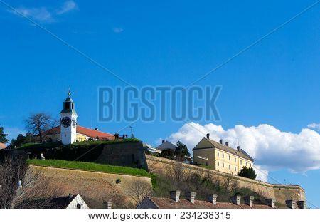 Clock On The Fortress. Petrovaradin, Serbia - City In The Region Of Vojvodina. Petrovaradin Fortress
