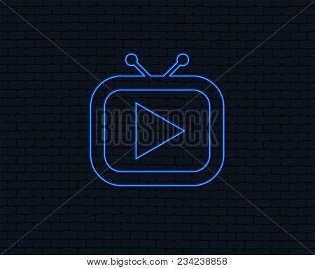 Neon Light. Retro Tv Mode Sign Icon. Television Set Symbol. Glowing Graphic Design. Brick Wall. Vect