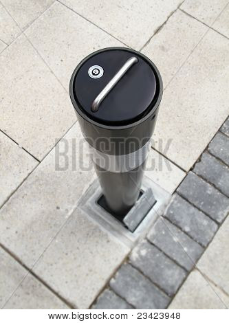 security bollard on a high street