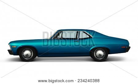 3D illustration of blue retro car isolated on white background