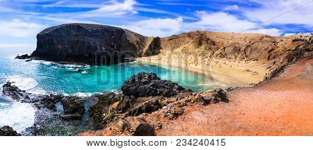 Unique volcanic island Lanzarote - beautiful beach Papagayo, Canary islands of Spain