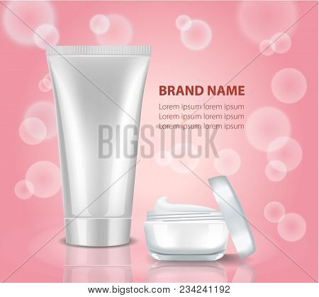 Beauty Care Products Package On The Pink Background With Water Bubbles. Mock Up Cosmetic Bottle And
