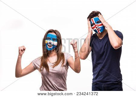 Happy Football Fan Of Argentina Celebrate Win Over Upset Football Fan Of Iceland With Painted Face I