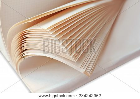 Semi-open General Notebook, Open Notebook With White Sheets, Pages Of A Thick Notebook