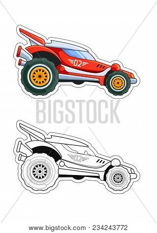 Red Racing Car Side View Coloring Book. Colored Version And Line Art.