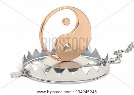 Trap With Yin And Yang, Taoism Religion Trap Concept. 3d Rendering