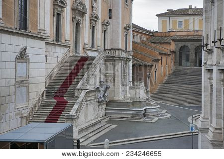 Rome, Italy - November 18, 2017 Altar Of The Fatherland Altare Della Patria, Known As The National M