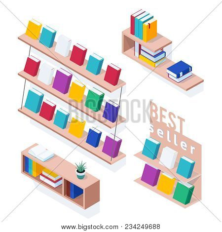 Set Of Isometric Bookshelves. Pile Of Books On Wooden Shelves Isolated On White Background. 3d Books