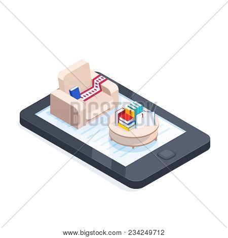Electronic Books Isometric Concept. 3d Armchair And Coffee Table With Stacks Of Books On The Smartph