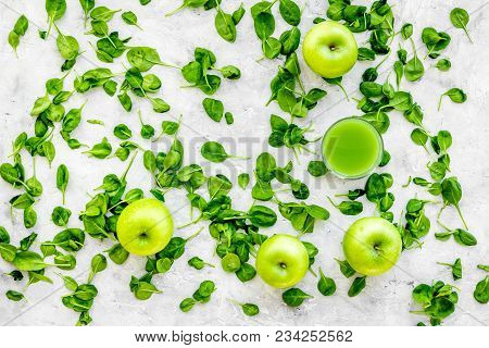 Apple, Celeriac. Vegetables For Greeny Organic Smoothy For Sport Diet On Stone Table Background Top