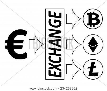 Euro Exchange With Crypto Currensy. Bitcoin ,ethereum ,litecoin Coins Icons And Simbol Of Crypto Cur