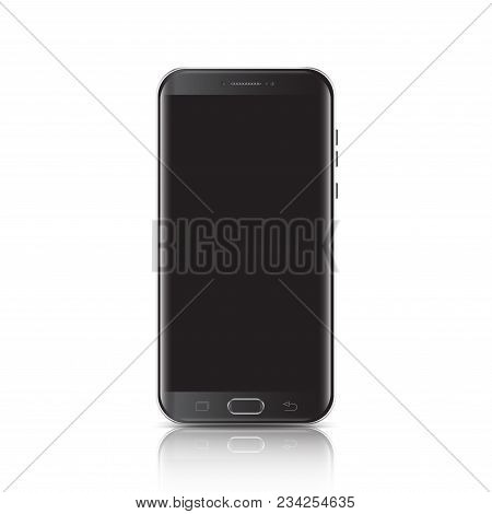 Modern Realistic Black Smartphone. Smartphone With Edge Side Style, 3d Vector Illustration Of Cell P