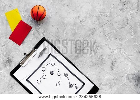 Sport Judging Concept. Basketball Referee. Tactic Plan For Game, Basketball Ball, Red And Yellow Car