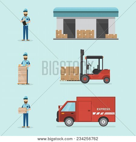 Warehouse And Logistic Flat Design. Delivery And Storage With Workers, Cargo Box, Car And Forklift.