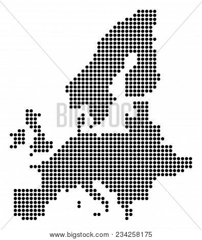 Dotted European Union Map. Vector Mosaic Of European Union Map Combined Of Round Pixels. Vector Geog
