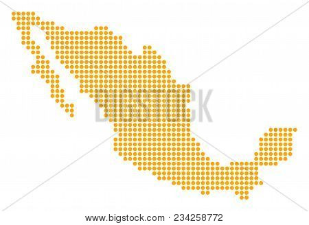 Dotted Mexico Map. Vector Collage Of Mexico Map Designed Of Small Circles. Vector Geographic Map.