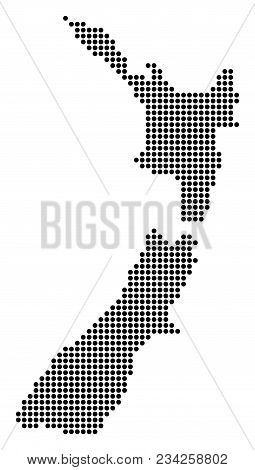 Dotted New Zealand Map. Vector Pattern Of New Zealand Map Organized Of Round Dots. Vector Geographic