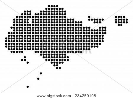 Dotted Singapore Map. Vector Collage Of Singapore Map Organized Of Round Dots. Vector Geographic Map