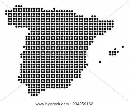 Dotted Spain Map. Vector Mosaic Of Spain Map Organized Of Round Dots. Vector Geographic Map.