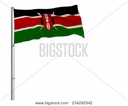 Isolate Flag Of Kenya On A Flagpole Fluttering In The Wind On A White Background, 3d Rendering