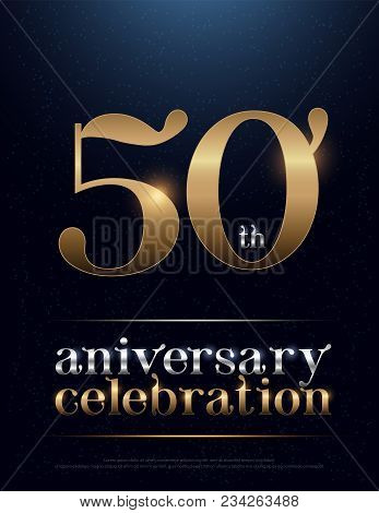 50th Anniversary Celebration Colored Metal Chrome Alphabet. Elegant Silver And Golden Typography Cla