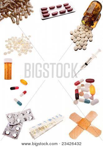 Pharmaceutical products on plain background