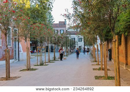 Venice, Italy - August 13, 2016: Tourists Walking On Street Of Old City