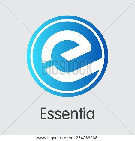 Vector Essentia Cryptocurrency Graphic Symbol. Mining, Coin, Exchange. Vector Colored Logo Of Ess.