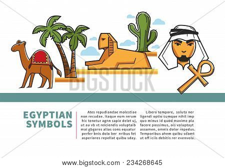 Egypt Travel Agency Or Tourism Poster Of Egyptian Landmark Symbols And Famous Sightseeing Attraction