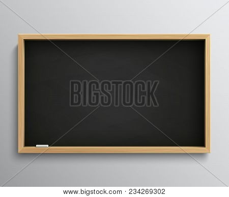 Blank Retro Class Blackboard With Chalk Pieces. Empty Black Chalkboard Vector Illustration For Educa