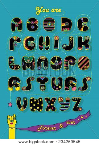 Artistic Alphabet With Encrypted Romantic Message You Are My Superstar. Cartoon Black Letters With B